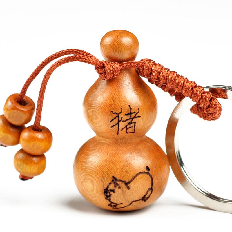 风水阁 桃木葫芦挂件钥匙扣 十二生肖饰品守护神 吉祥