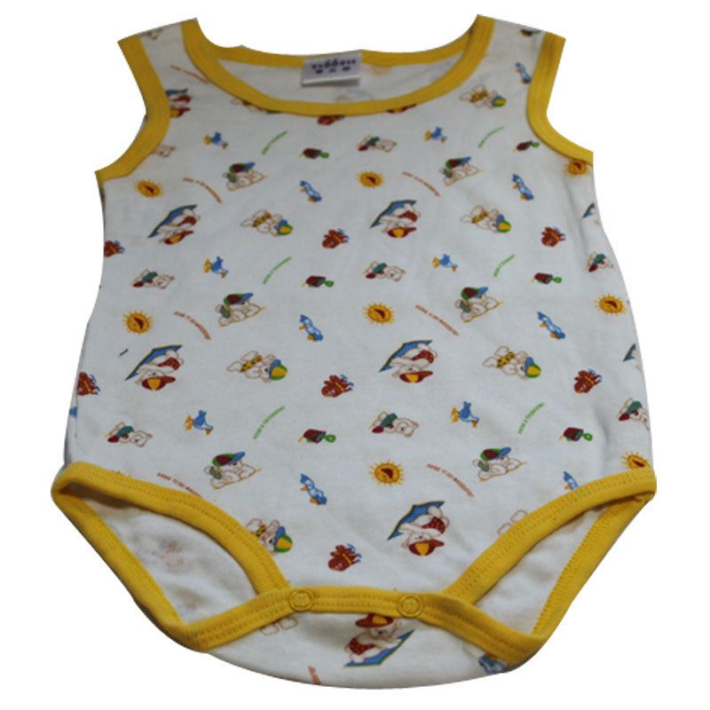 叶子宝宝 纯棉爬爬衫清货处理(0-18个月) 蒂贝特爬爬衫黄色 70cm(3-6