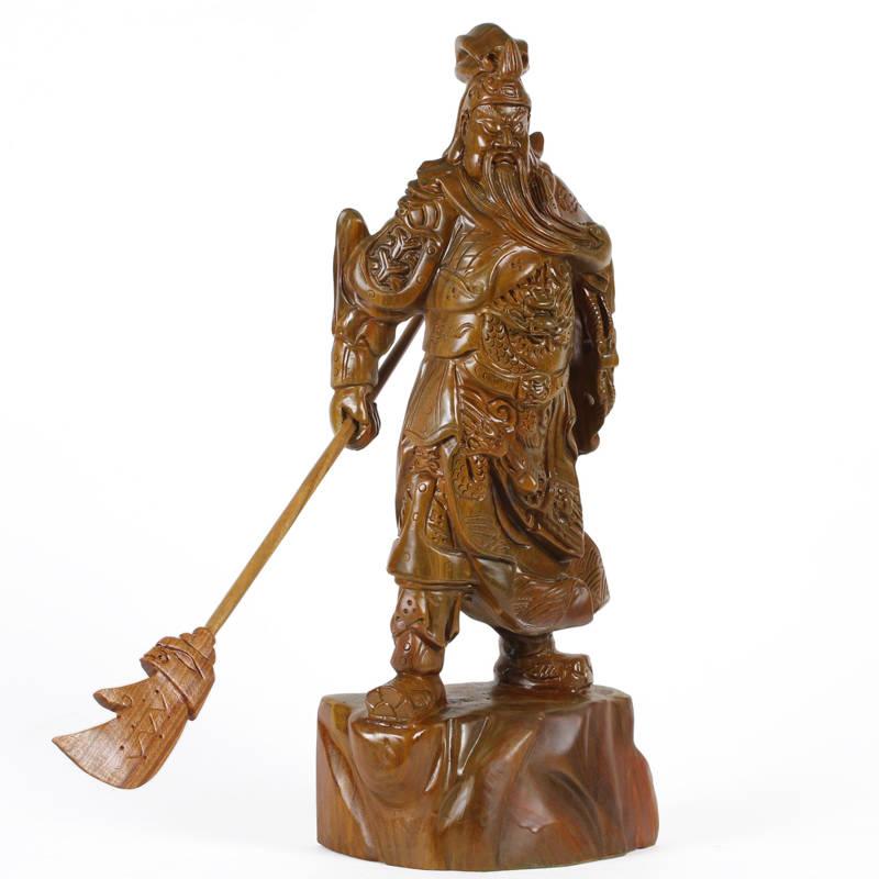 小雕匠正品 红木雕刻工艺品摆件 绿檀武财神关公木雕关公木雕像