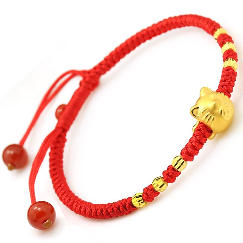 红色年轮 999千足金转运珠3d硬金招财猫红绳手链女人节送女友礼物
