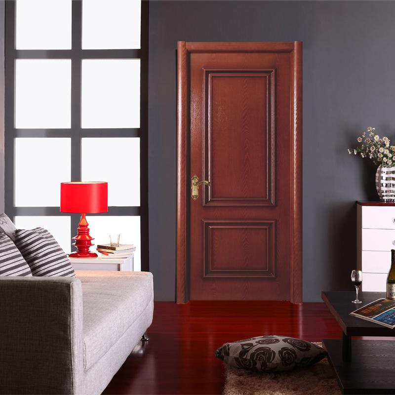 实木复合门 浸漆门 室内门 木门 卧室门 满江红色 sc-02 直角门套