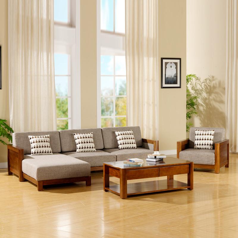 宜华家居 实木客厅家具 沙发茶几组合 现代简约新中式