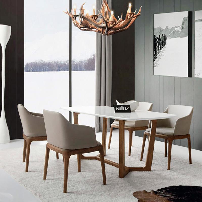 纳威家居 餐桌餐椅 餐厅套装组合 北欧现代 实木饭桌图片