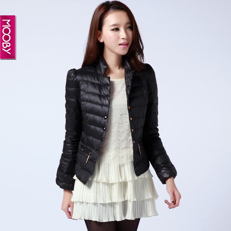mooby2012冬装新款韩版立领短款羽绒服女修身潮正品mmy2d080 咖啡色 m图片