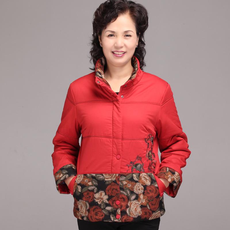 芯羊 中老年女装秋冬新款妈妈装冬装中大花直筒型棉服