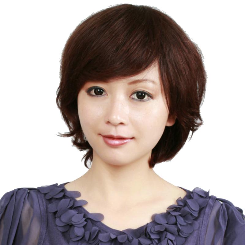 玫瑰雨 真发假发 真发斜刘海自然蓬松短发女 女生假发图片