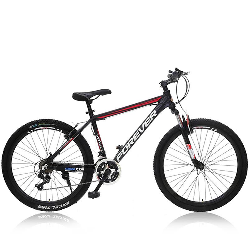 自行车 永久山地车 铝合金车架v型刹车 禧玛诺变速器mt-300 黑红色 26