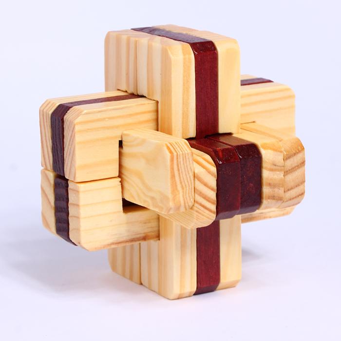 木质孔明锁鲁班锁小孩学生学校六一儿童节礼物创意好玩 松木双色积木
