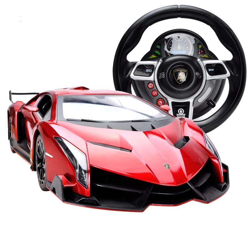 仁达 兰博基尼语音操纵遥控跑车车模 音乐遥控车儿童赛车玩具 红色