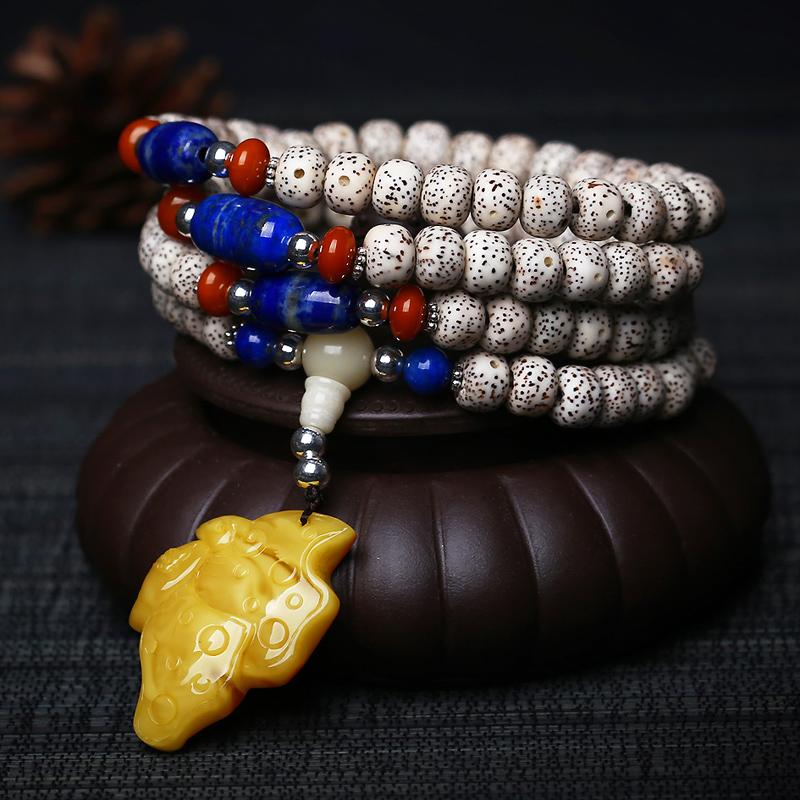 王廷珠宝 极品星月正月菩提108佛珠天然琥珀蝴蝶