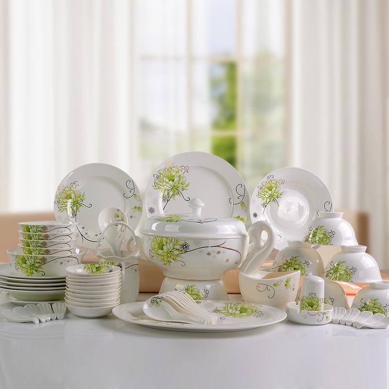 凯伊 高档陶瓷餐具 金边碗盘碗碟28/56头骨瓷餐具套装图片