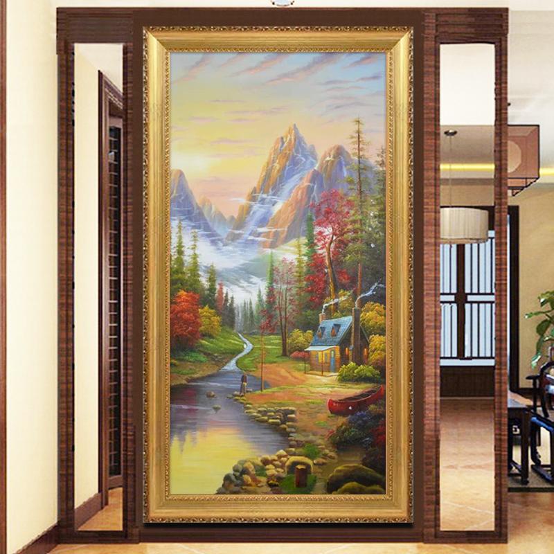 易美馨欧式手绘油画托马斯田园风景酒店别墅客厅玄关壁炉装饰画有框油
