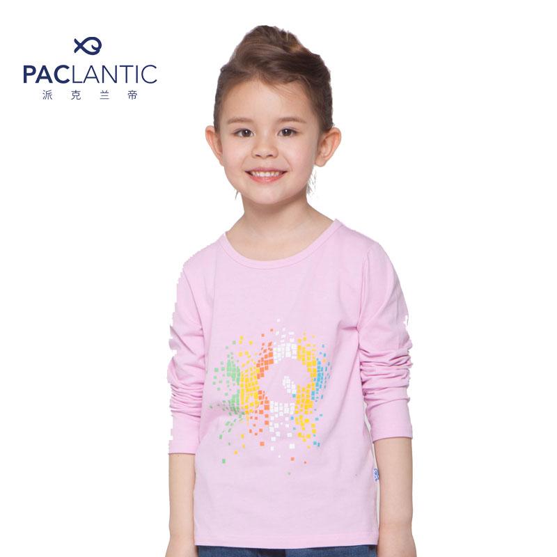 派克兰帝品牌童装 春秋男女童logo系列圆领长袖t恤juwi15101 泡泡粉