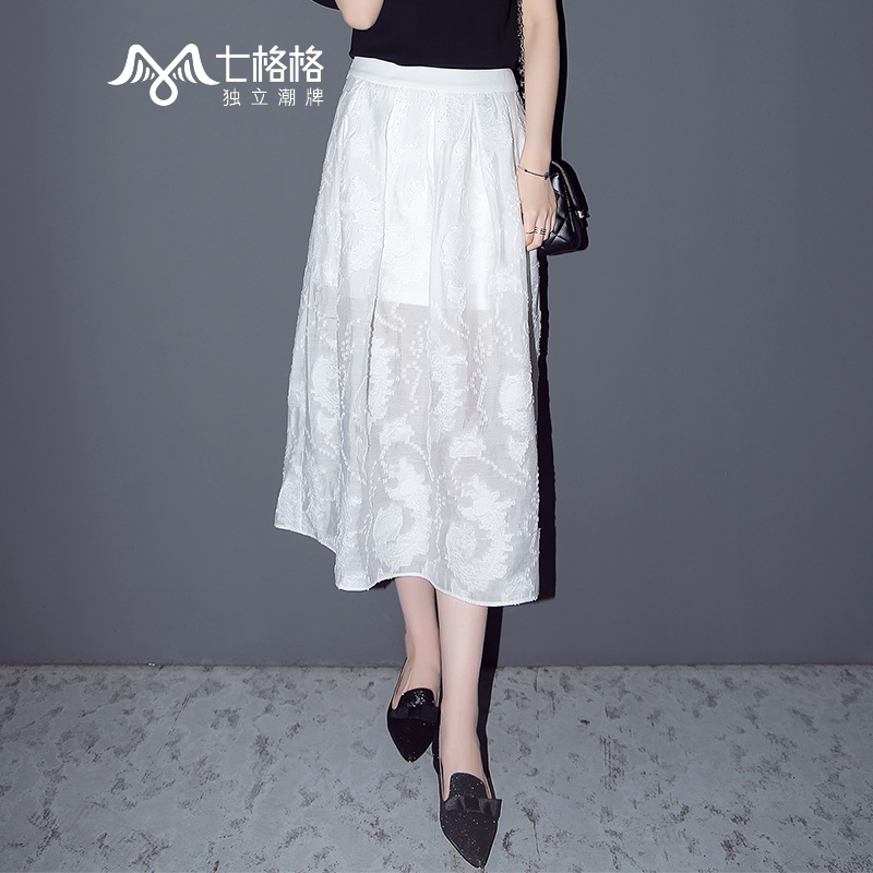 简约百搭提花图案白色半身裙
