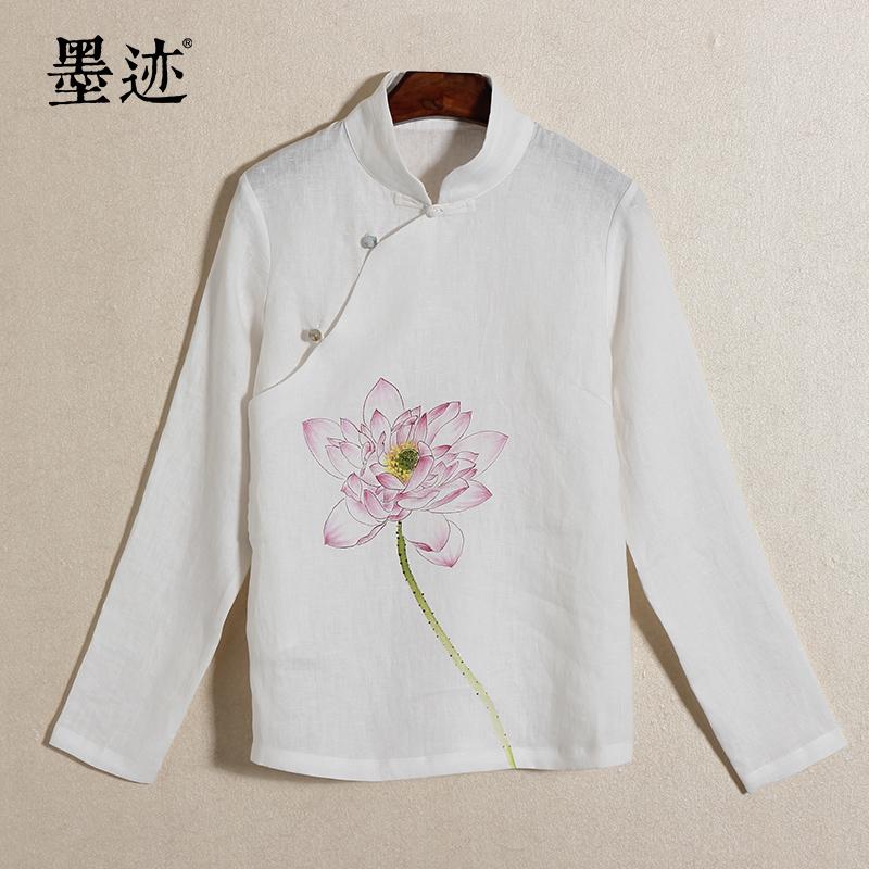 墨迹2015新品中国风手绘荷花棉麻禅服女装中式改良唐装女汉服女 白色