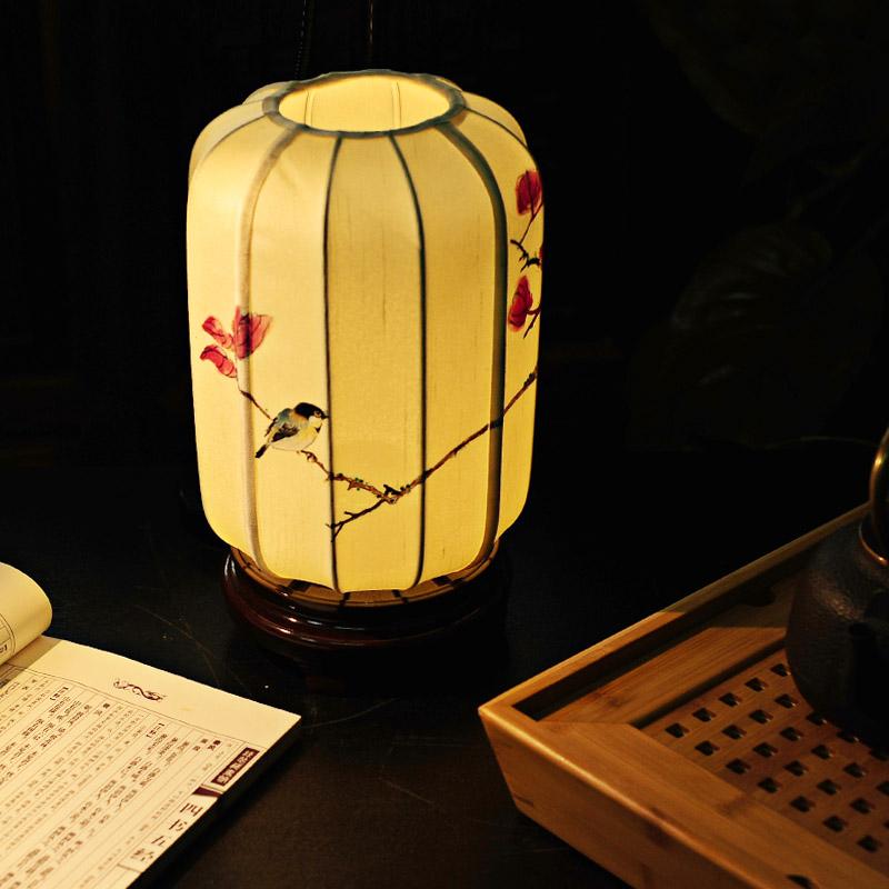 吉祥家 新中式装饰台灯 霁月 手绘蚕丝布艺床头灯小台灯饰 现代创意调