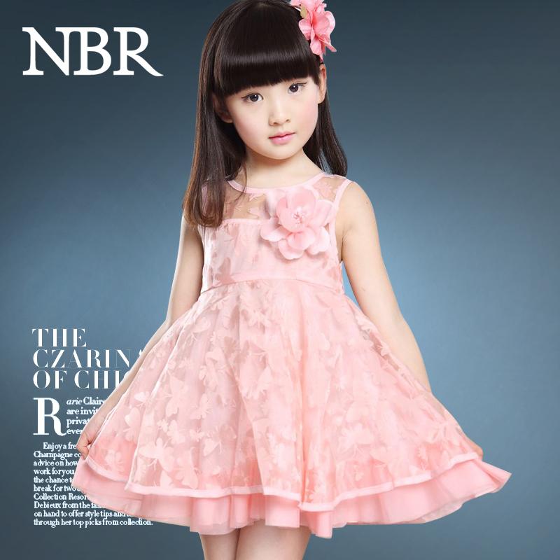 童装 女童夏装2015新款3-5-7-9-11-13岁女孩子儿童连衣裙表演裙 粉色