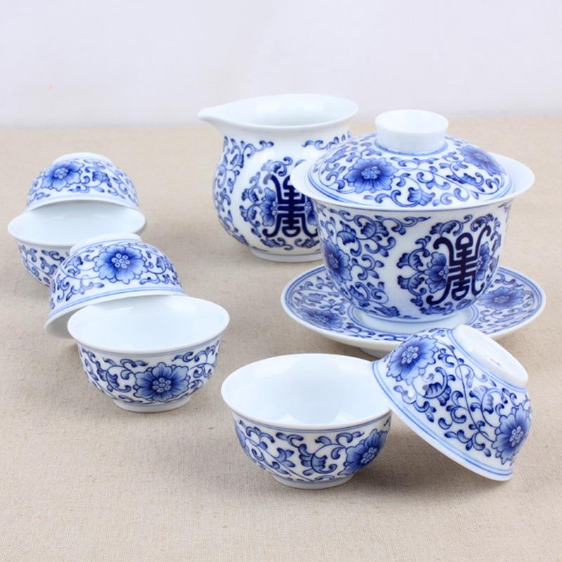 元水堂 青花瓷整套茶具 缠枝莲八件套 手绘青花 功夫茶具套装 缠枝莲