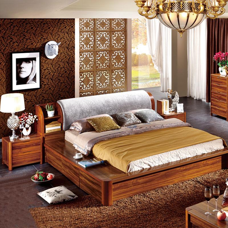 双人床 榻榻米实木床 现代新中式实木床婚床板木结合大床含储物功能