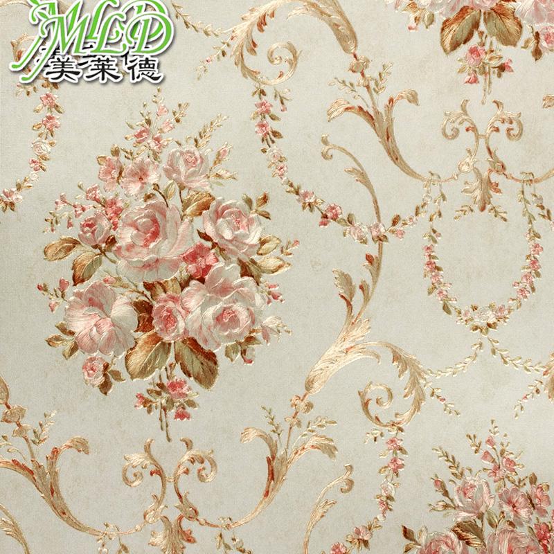 美莱德高档欧式田园大花墙纸婚房 客厅卧室背景墙壁纸图片
