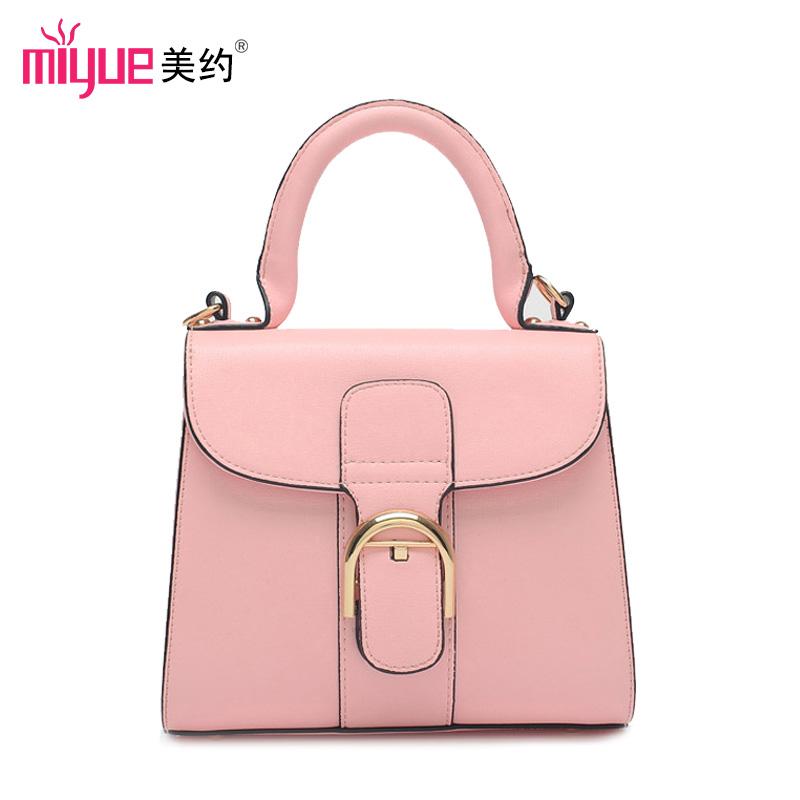美约2015新款糖果色女包韩版时尚小包包 粉色