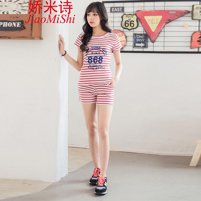 娇米诗2015新款短袖条纹休闲套装韩版短裤中学生运动套 红色 l图片
