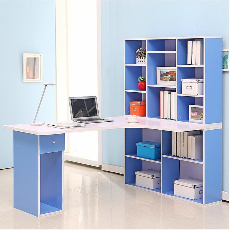 苏鼎简约转角电脑桌转角书桌书柜组合转角学习桌转角书柜 蓝色.