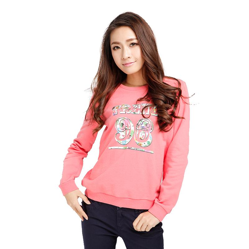 森马2015春装新款长袖t恤 女装印花图案圆领t恤 女韩版潮长袖t恤 粉红图片