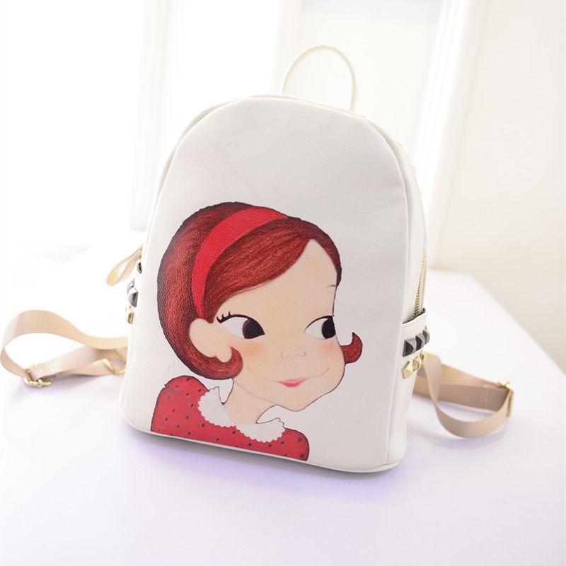 2015春新款韩国陆心媛同款女孩头像印花铆钉双肩包背包书包mz888 白色