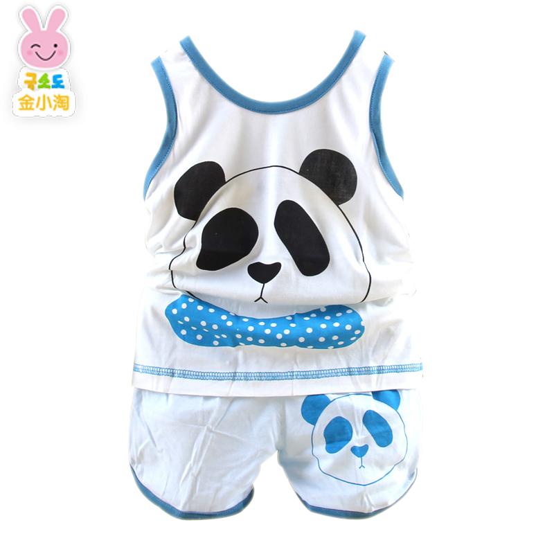 金小淘 儿童夏季小童宝宝背心套装 可爱卡通熊猫印花白t恤短裤两件套