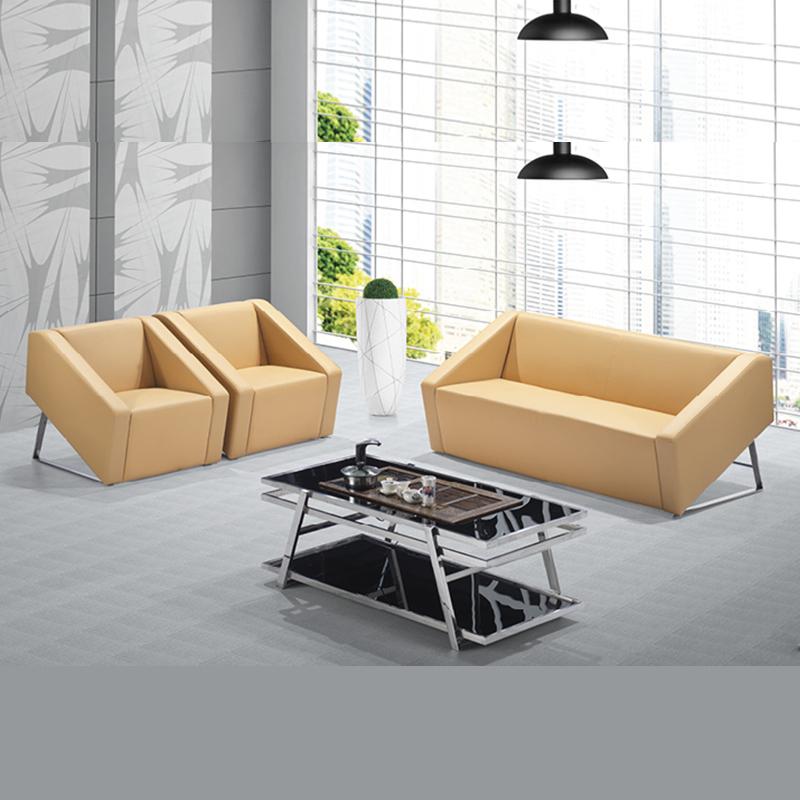 绿思林现代简约商务接待办公室休闲沙发三人位办公沙发茶几组合布艺