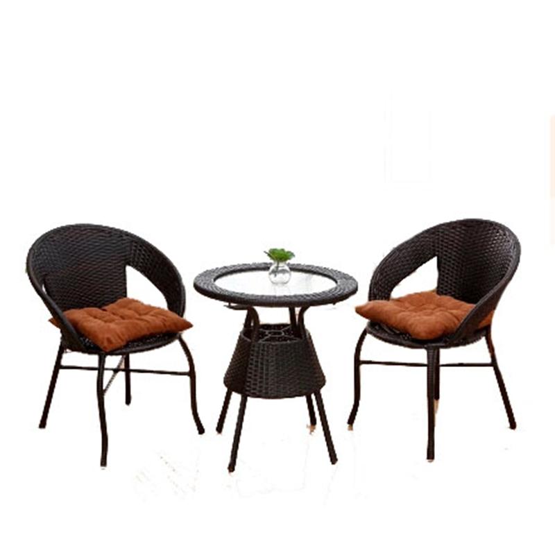 微乐派 藤椅三件套 休闲椅子 阳台桌椅 户外家具 藤编