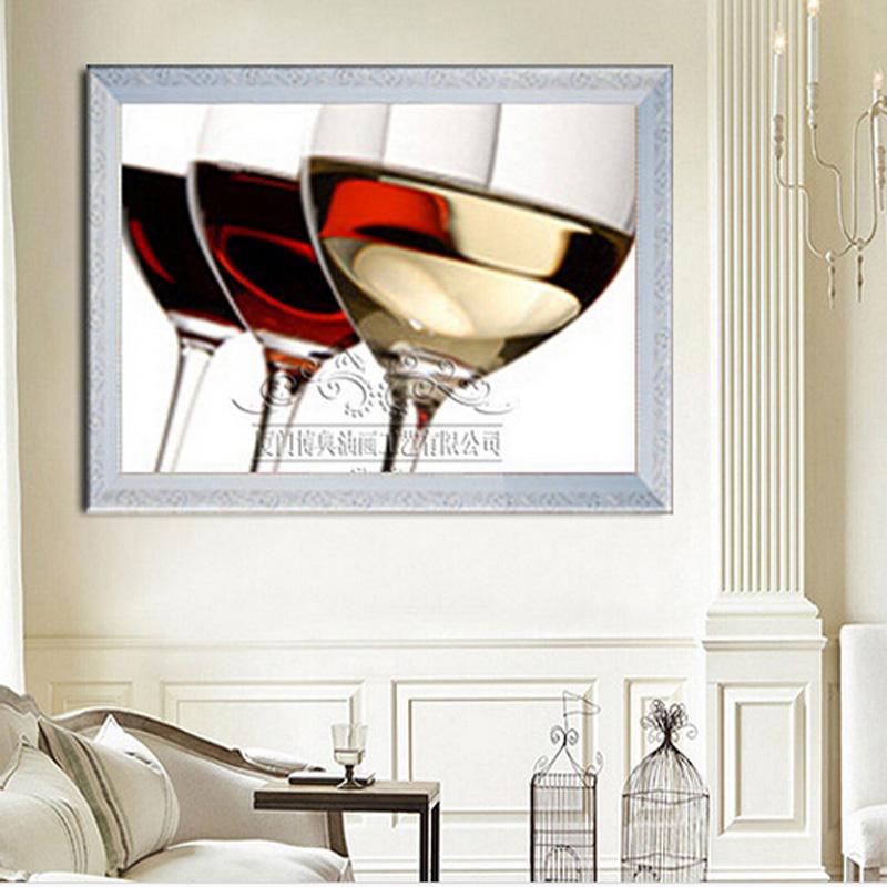 纯手绘油画 饭厅装饰画无框画壁画墙壁挂画墙画餐厅画酒杯静物画 白色
