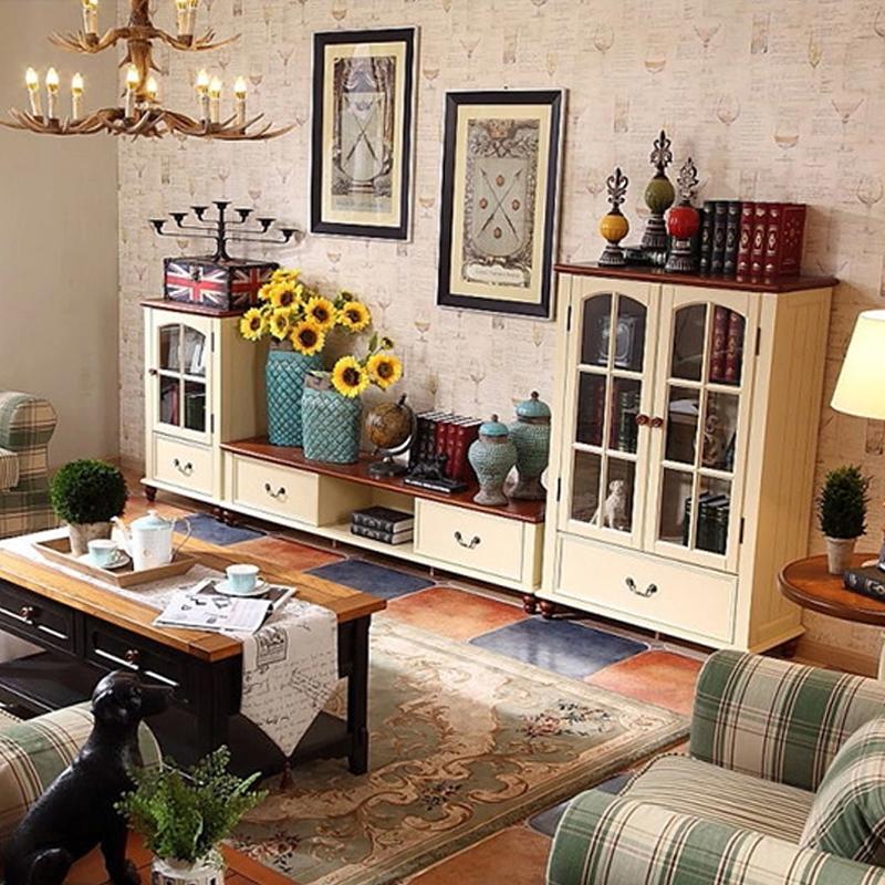 欧式电视柜 客厅美式实木电视柜地中海地柜茶几组合简约乡村家具 象牙图片