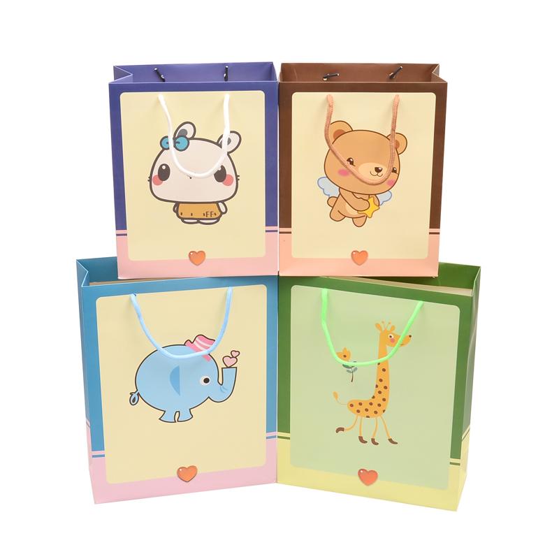 瑞迪斯 卡通动物礼品袋 纸袋 手提袋 六一儿童节送宝宝节日礼袋 紫色