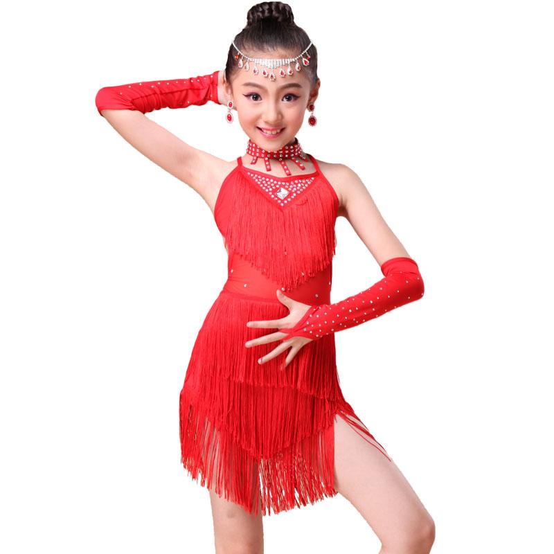 猫度 儿童拉丁舞服新款少儿拉丁舞裙流苏拼接专业演出图片