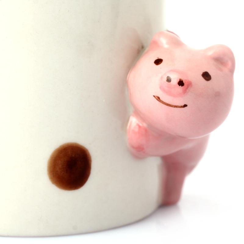 趣玩3d立体纯手绘动物杯陶瓷杯子 创意马克杯 粉色猪猪