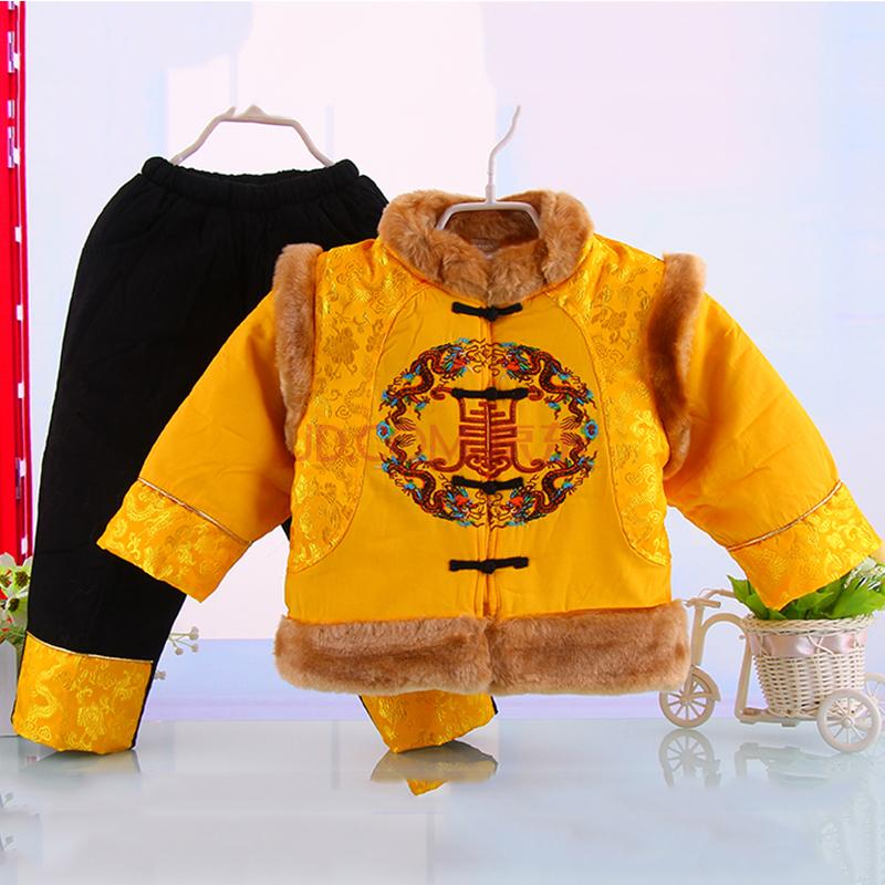 冬季新款男童保暖加厚纯棉花纹唐装 男童新年过年唐装