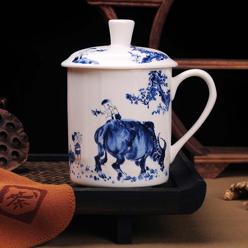 思钰 景德镇陶瓷茶杯 带盖骨瓷器大水杯青花瓷器 会议
