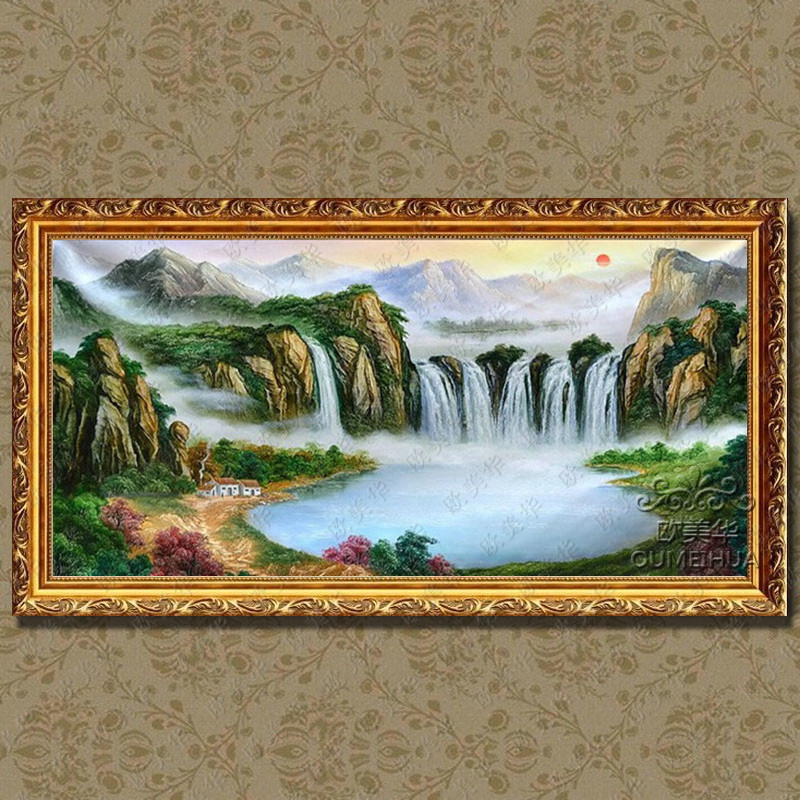 纯手绘油画中式山水风景 有框画 现代 壁画客厅办公室