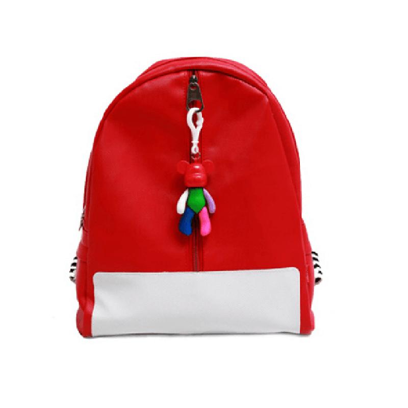童畅儿童环保普通双肩包pu暴力熊卡通可爱背包 挂件书包 小熊 红色图片