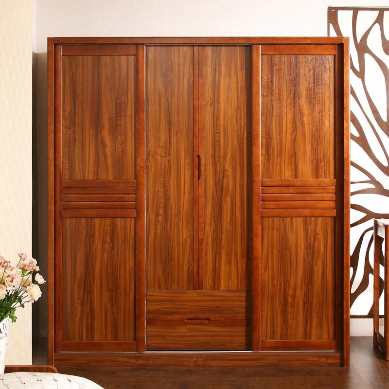 虾米家具 现代中式田园实木框架衣柜趟门推拉门四门衣柜c501 乌金木色