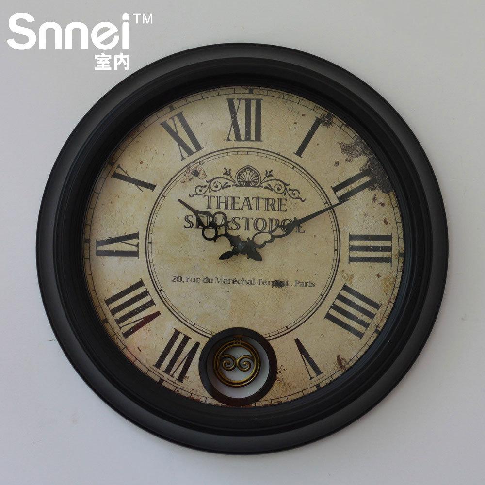 snnei室内 复古圆形带钟摆 创意挂钟 欧式客厅钟表 家居墙壁装饰
