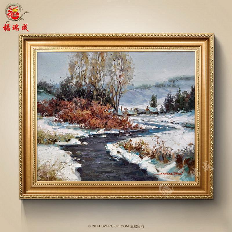 海景风景手绘油画客厅欧式有框画别墅餐厅卧室装饰画手工挂画 作品三