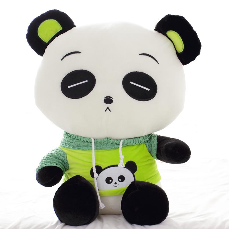 柒彩熊 超萌表情 卫衣小熊猫公仔玩偶 趴趴大熊猫毛绒图片
