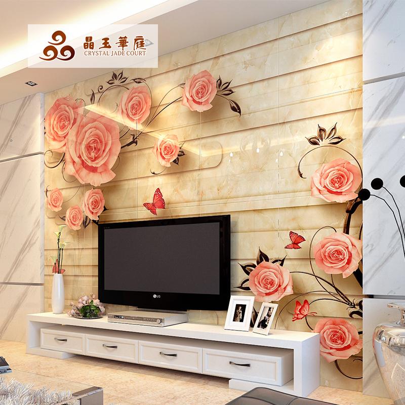 田园欧式瓷砖背景墙电视墙简约现代客厅墙砖微晶石壁画3d花晨月夕图片