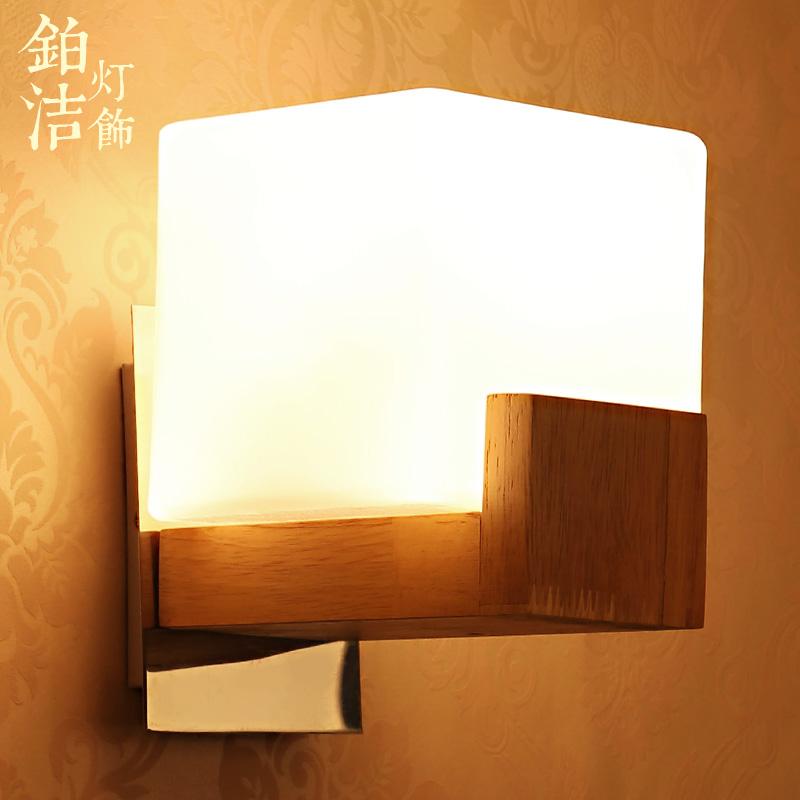 现代简约时尚北欧墙壁灯客厅卧室木艺玻璃创意实木壁灯床头灯 单头
