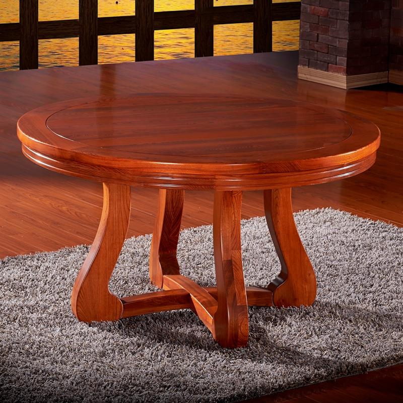 【蠡口家具馆】东北老榆木餐桌椅组合 实木餐桌餐椅套装 圆餐桌 单张