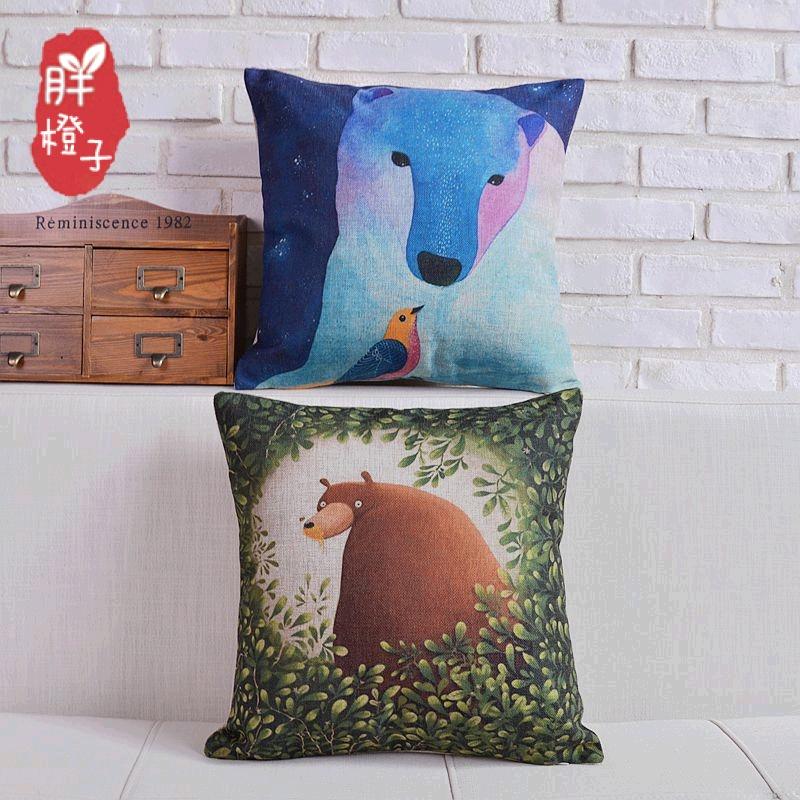 一橙家纺棉麻创意家居手绘动漫森林北极熊和小鸟沙