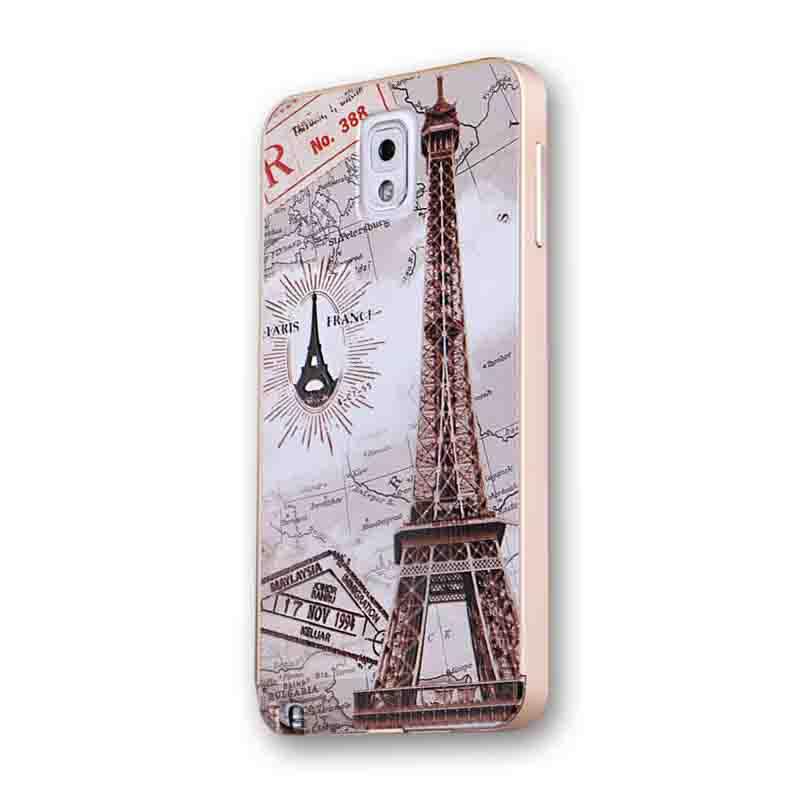 古吉 卡通彩绘浮雕手机壳手机套保护套 适用于三星note3 金边巴黎铁塔